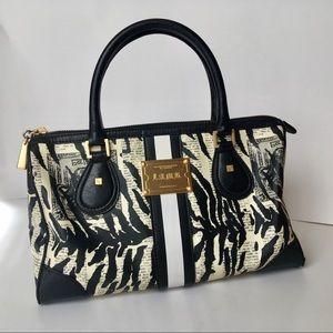 LAMB\Gwen Stefani newspaper zebra print satchel